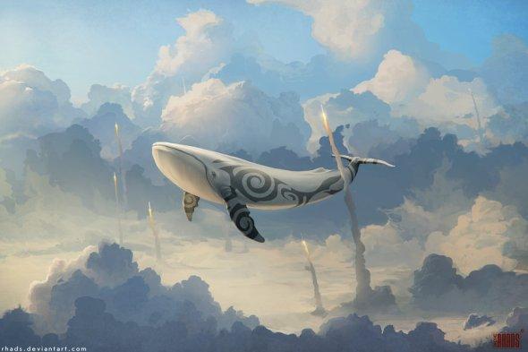 Artem Cheboha rhads deviantart ilustrações paisagens surreais fantasia céu nuvens baleias voando