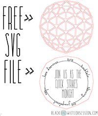 Black and White Obsession New Year's Eve Ball Drop Invitation Silhouette Cameo/Portrait SVG Free Download | Freebie Cut File | www.blackandwhiteobsession.com