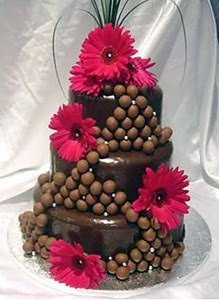 Chocolate Wedding Cakes Decorated with Red Gerberas & Chocolate Balls