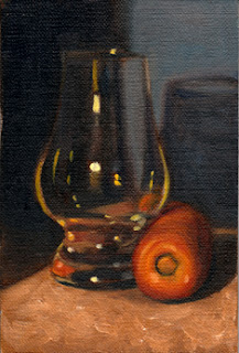 Oil painting of a Glencairn whisky glass beside a carrot.