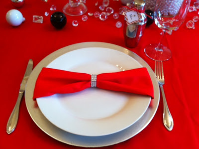 glam table setting, bling napkin ring