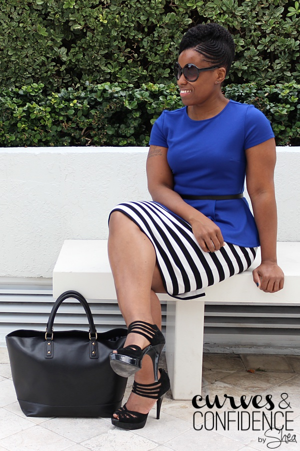 professional work wear, striped pencil skirt, royal blue, black and white outfit