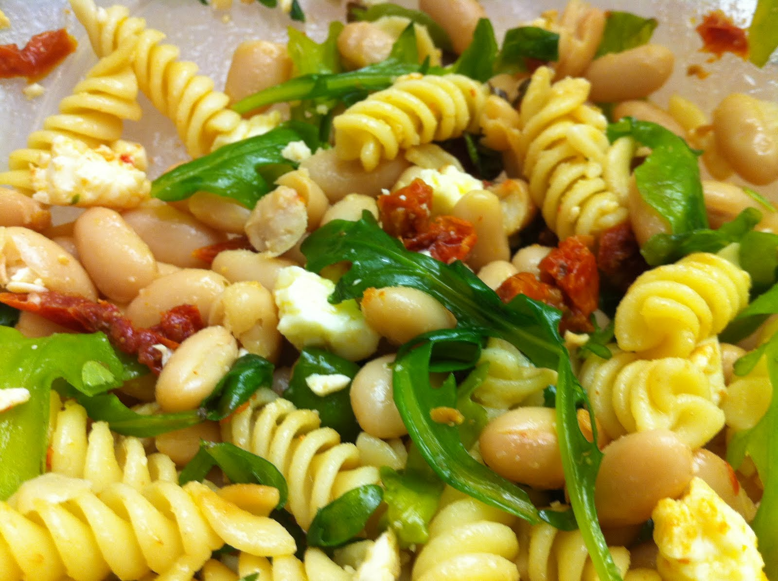 Seasoned by M.E.: Sundried Tomato, White Bean, and Arugula Pasta Salad
