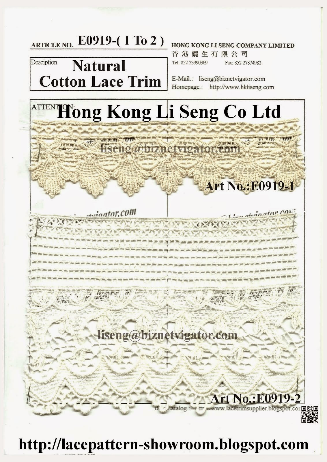 New Natrual Cotton Lace Trim Manufacturer Wholesaler Supplier - Hong Kong Li Seng Co Ltd