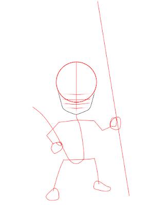 cara menggambar Goku kecil tahap 4