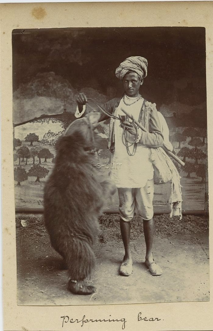 Indian Man with Performing Bear - c1900's