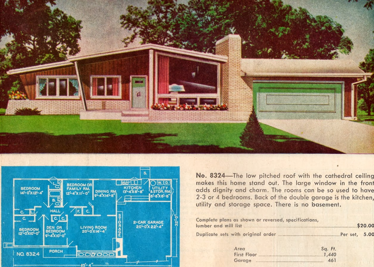 Mad for mid century atomic ranches with mid century doors for Mid century home plans
