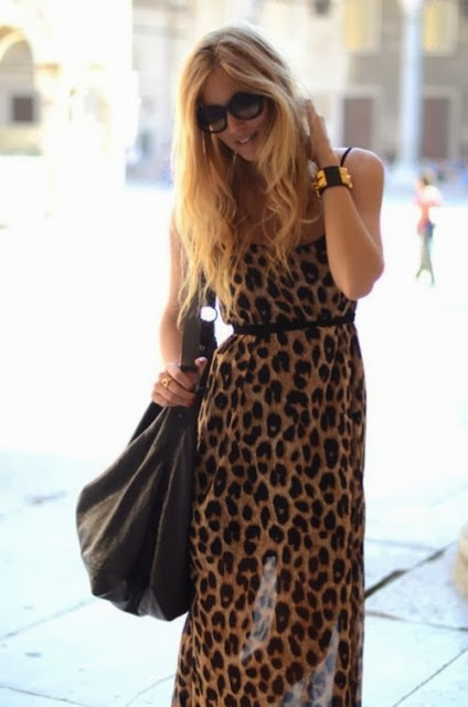 Leapord Maxi Dress With Black Bag