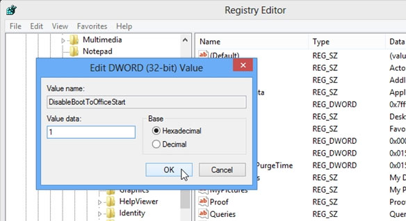 Tắt màn hình Start Screen Office 2013 6