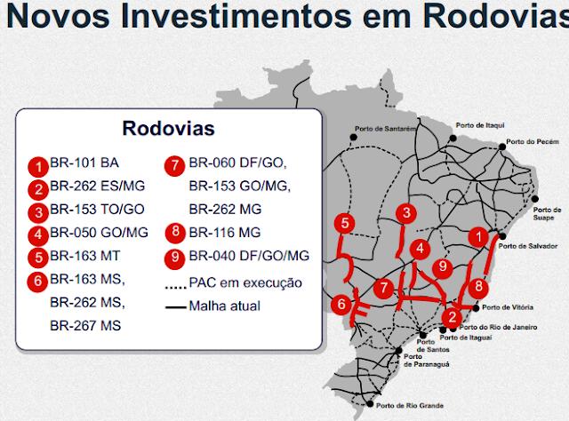 Rodovias ganharão investimentos