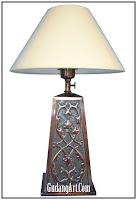 lampu duduk, meja, tidur tembaga