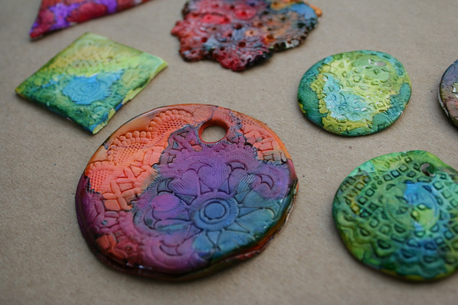 Pink and green mama alcohol ink on polymer clay for Clay making ideas