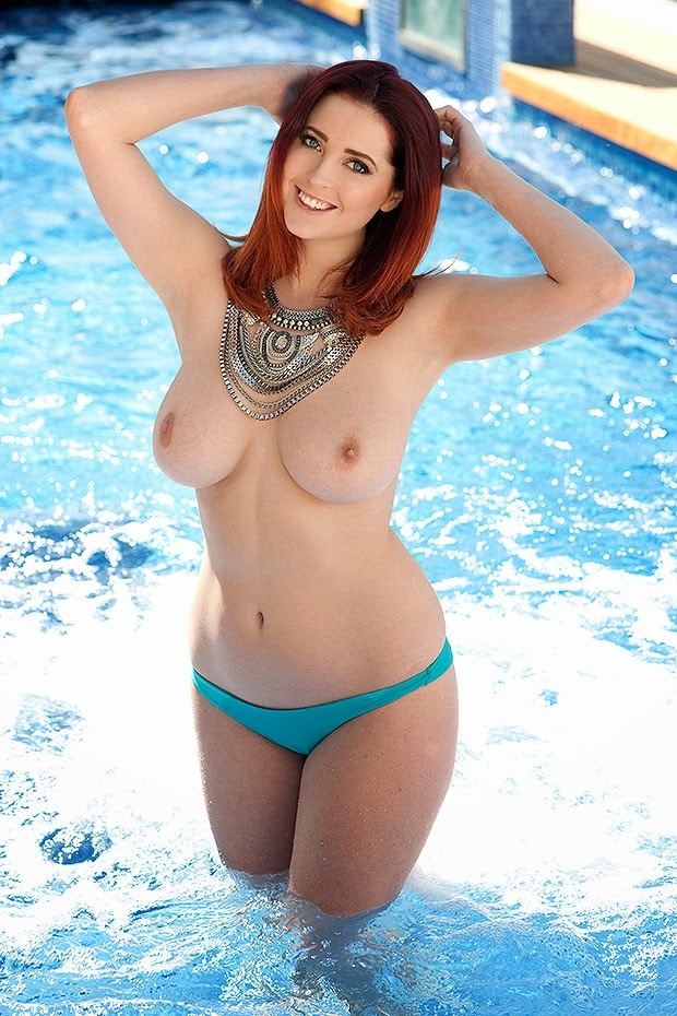 Lucy Collett Topless in the pool for Page 3