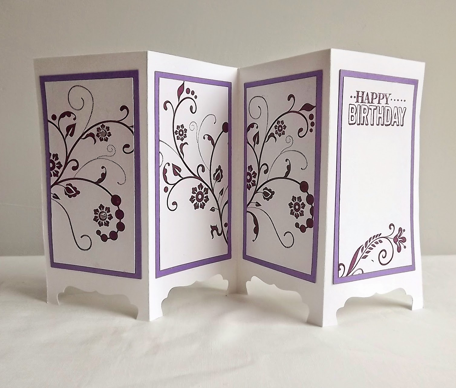 Stampin Up! Screen card, Flowering Flourishes