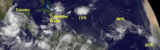 Atlantische Hurrikansaison 2012 startet durch, Hurrikansaison 2012, Atlantische Hurrikansaison, Atlantik, Karibik, aktuell, Satellitenbild Satellitenbilder, Ernesto, Gordon,