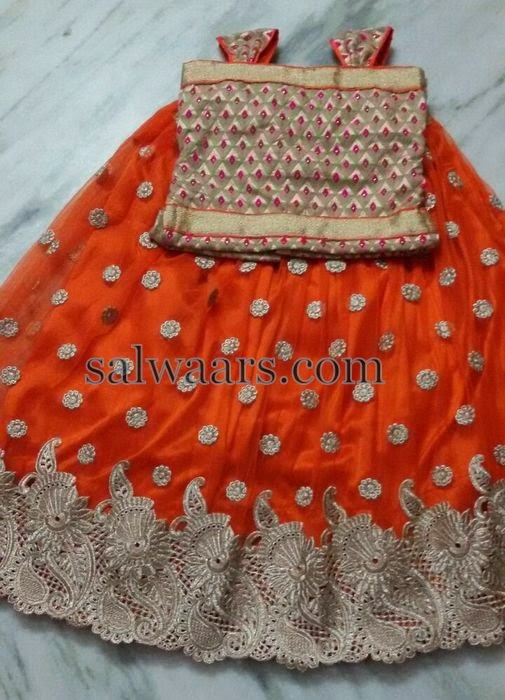 Orange Skirt with Lace Floral Border
