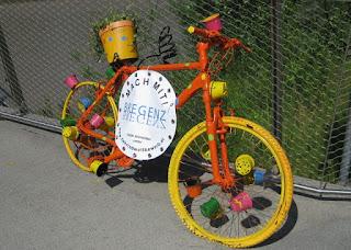 Colorful bike advertising www.fahrradwettbewerb.at, near Bregenz, Austria