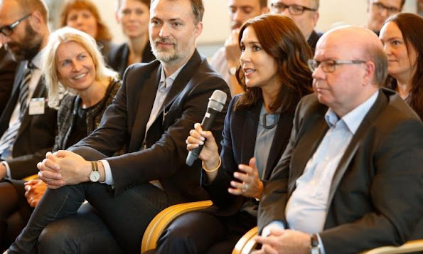 Crown Princess Mary of Denmark attended a conference about child welfare on the recreational life with Helle Østergaard of Director of Mary Fonden