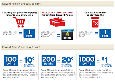 how to earn vons rewards points for gas