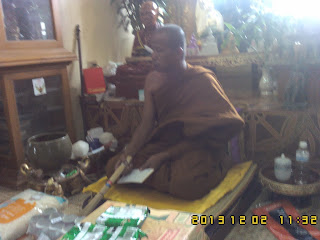 This day Luang Phor ( Monk ) traveled to visit Temple at other location. Gust Bought lots of goods to donated to the temple and the assistance monk have pray to guest.