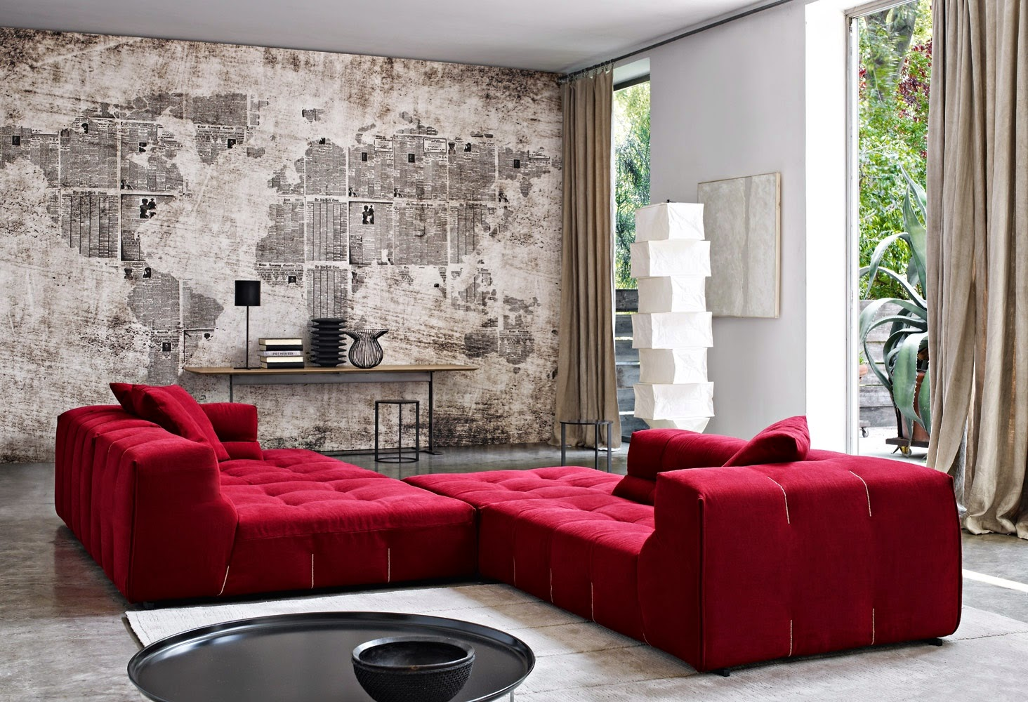 Model sofa bed warna merah dari Kulit