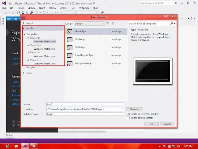 Visual Studio 2012 - New Project - Templates