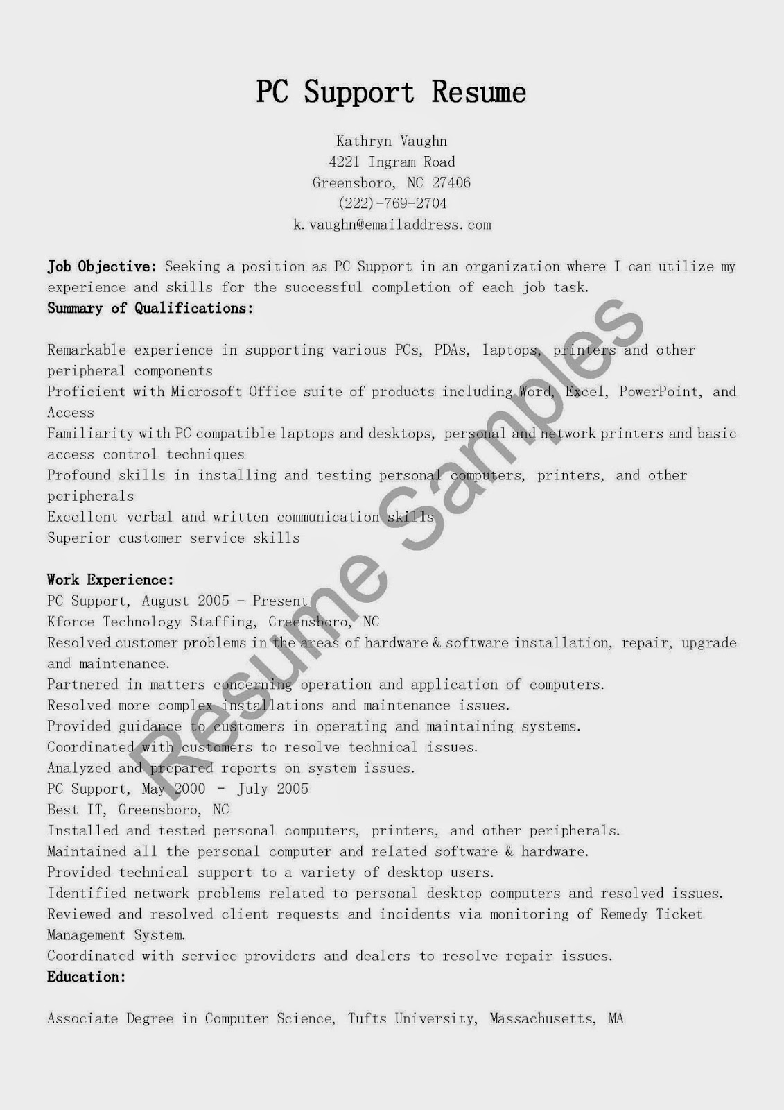 resume samples  pc support resume sample