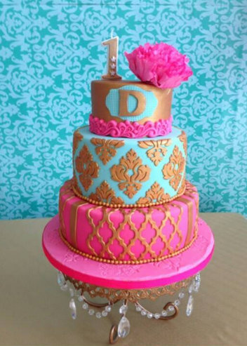 DAMASK PATTERN MOROCCAN TILES VIBRANT WEDDING CAKE 3 TIERS ROYAL BLUE PINK GOLD SINGAPORE