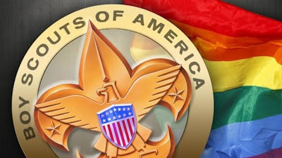 Scout Badge and Rainbow Flag