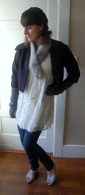Friday Outfit Post – white lace and fur