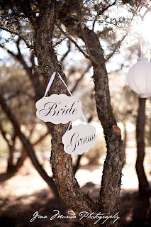 wedding sign in trees