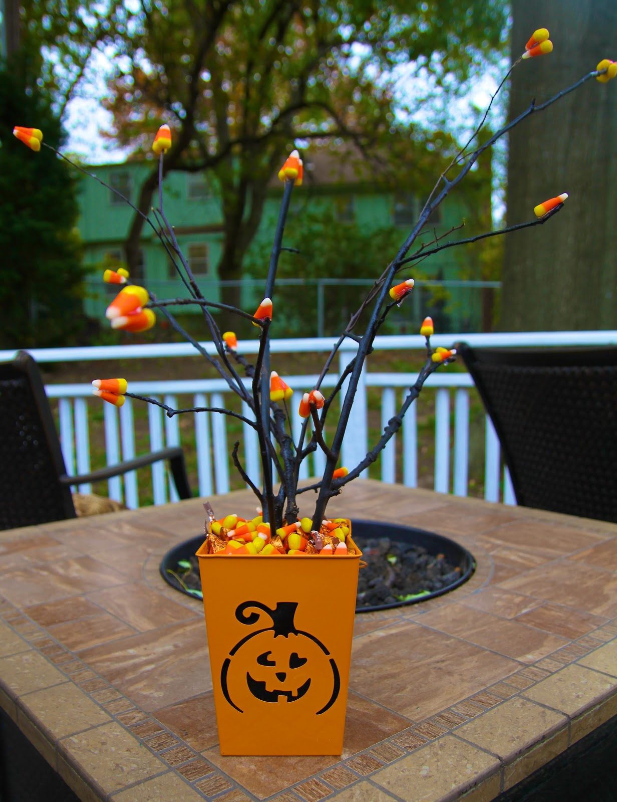 Life sprinkled with glitter candy corn tree centerpiece