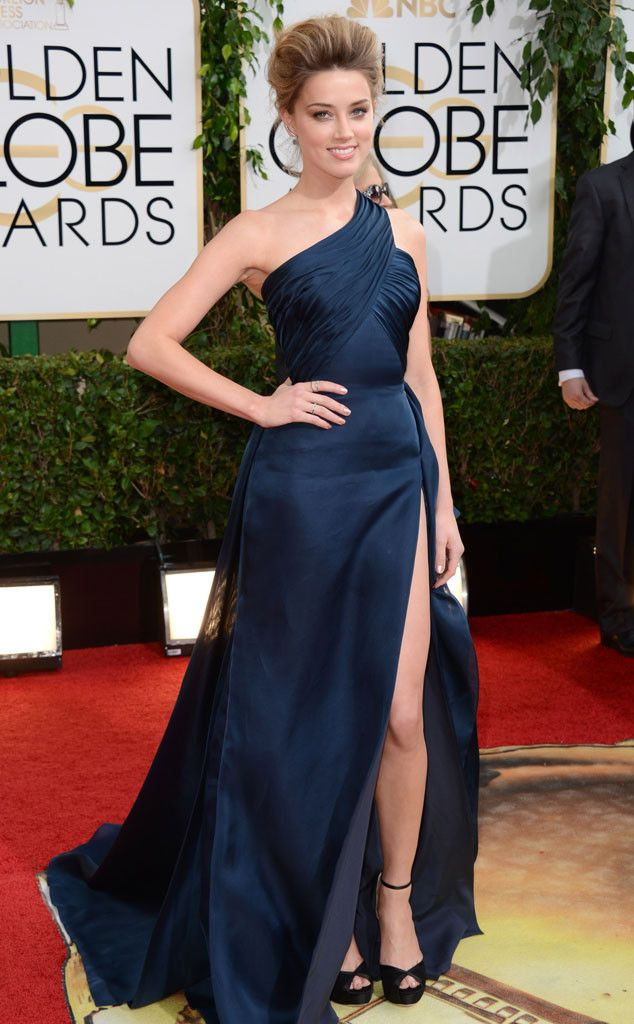 Amber Heard in a pretty navy Versace dress at the 2014 Golden Globe Awards
