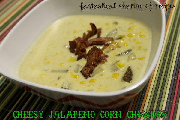 Cheesy Jalapeno Corn Chowder - a hearty #soup full of flavor with corn, #jalapeno, potatoes, #bacon, and cheese!