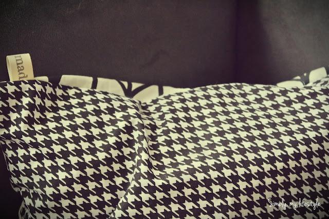 poszewka poduszka czarno białe pepitka