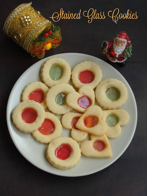 Stained glass cookies, Eggless Stained glass cookies