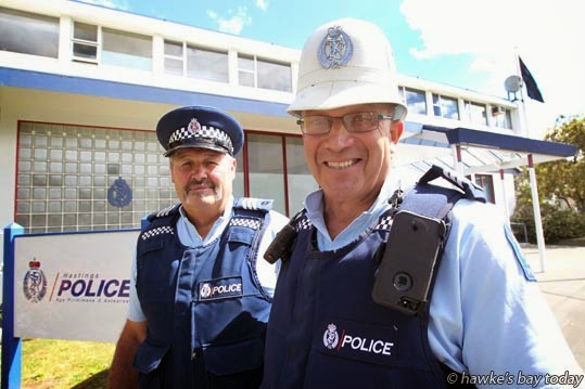 L-R: Sergeant  Bob Gordon, Sergeant Ross Stewart, pictured outside the Hastings Police Station, Railway Rd, Hastings, have both served 42 years with the New Zealand Police. photograph