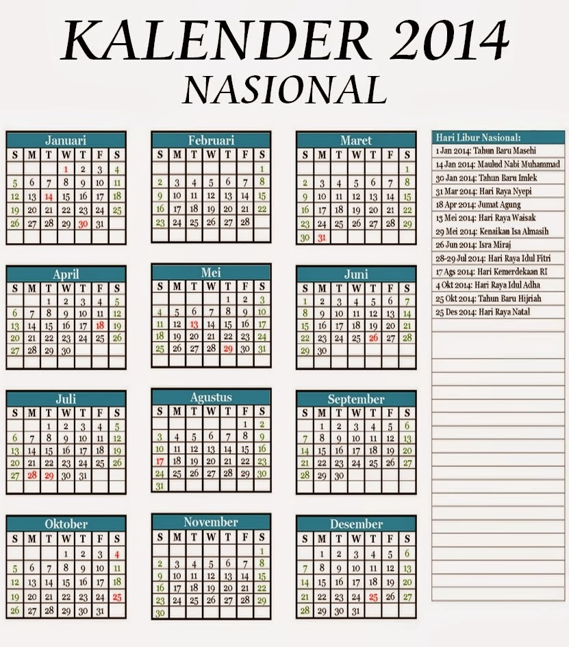 Download Kalender 2014 Lengkap