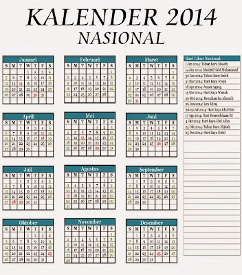 Berikut daftar lengkap Hari Libur Nasional 2014 sebanyak 14 hari dan