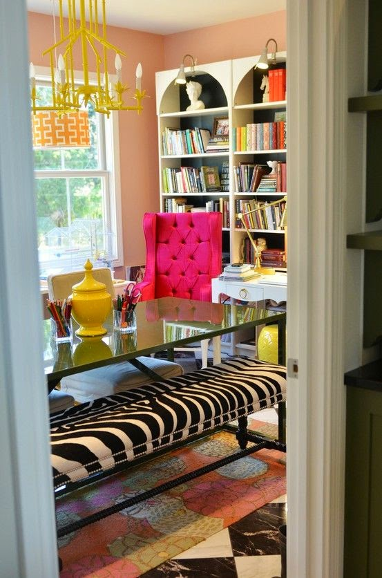 Good Example Of A Preppy Eclectic Assortment Trendy Furniture Palm Beach Style Wallpaper And Lampshades Touch The Exotic Via Zebra Ottoman