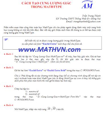 Cách tạo cung lượng giác trong MathType