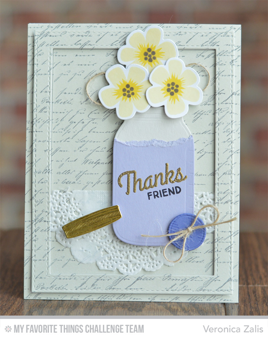 Vintage Thanks Friend Card from Veronica Zalis featuring the Modern Blooms stamp set and Die-namics and Mason Jar Die-namics