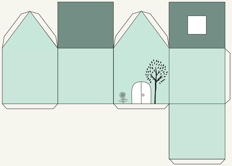 plantilla de casita de papel ilustrada
