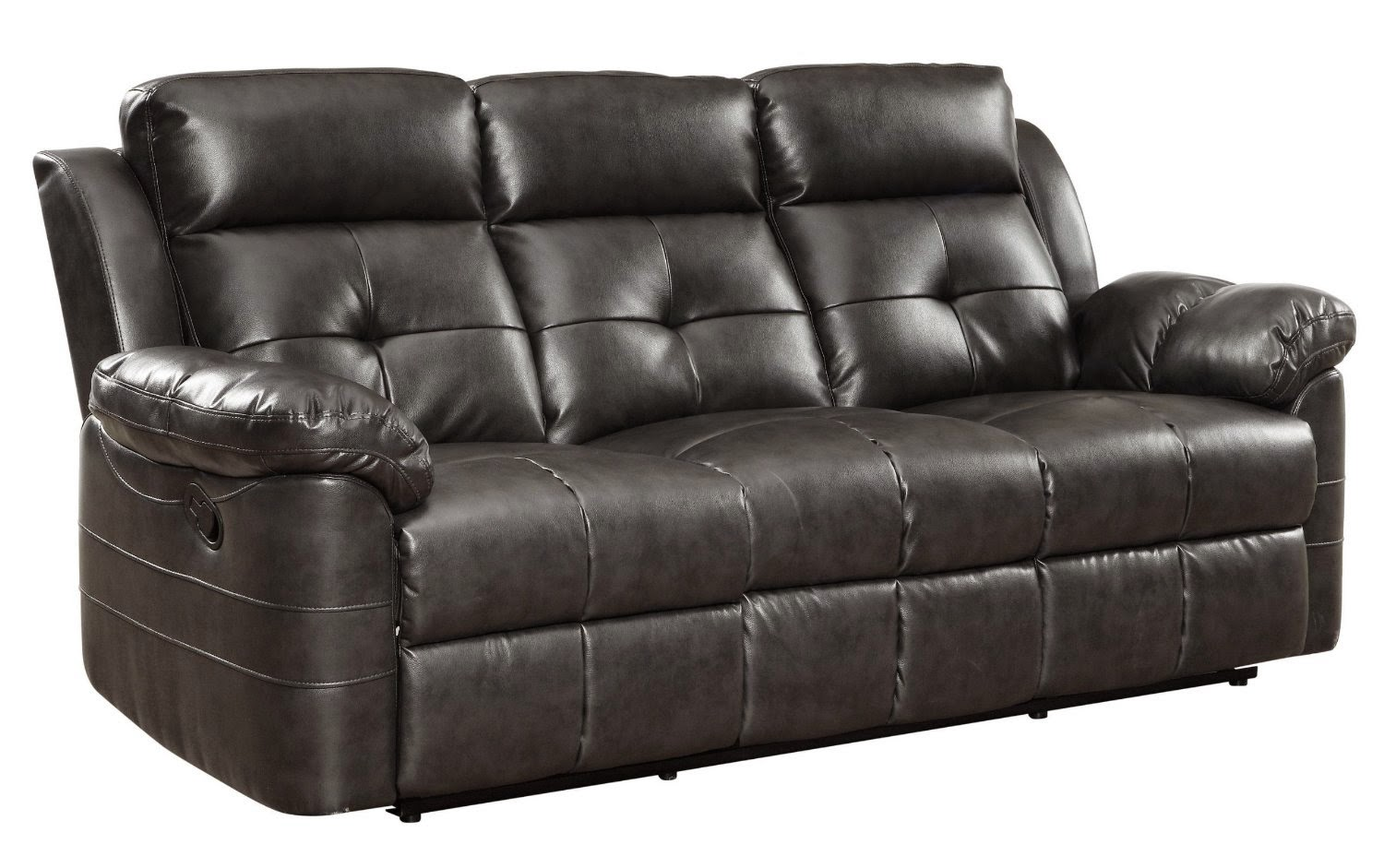 Black Curved Leather Reclining Sofa