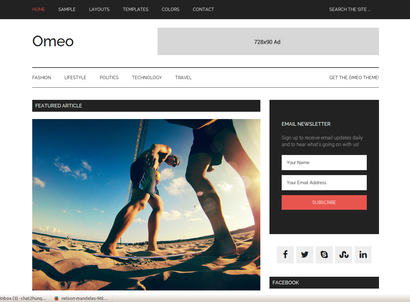 Omeo Responsive Blogger Template
