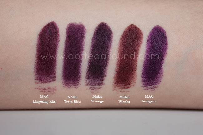 Mulac rossetto Scrooge swatch wonka nars mac