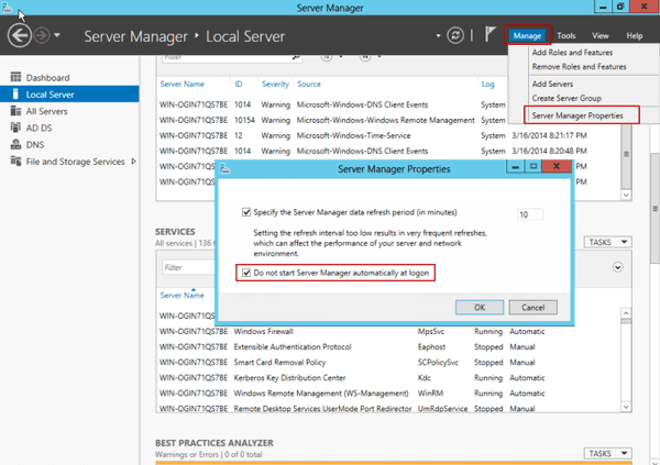 don't start server manager when windows server 2012 logon