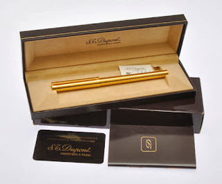 S.T. Dupont gold L2 horizontal godron fountain pen new in box