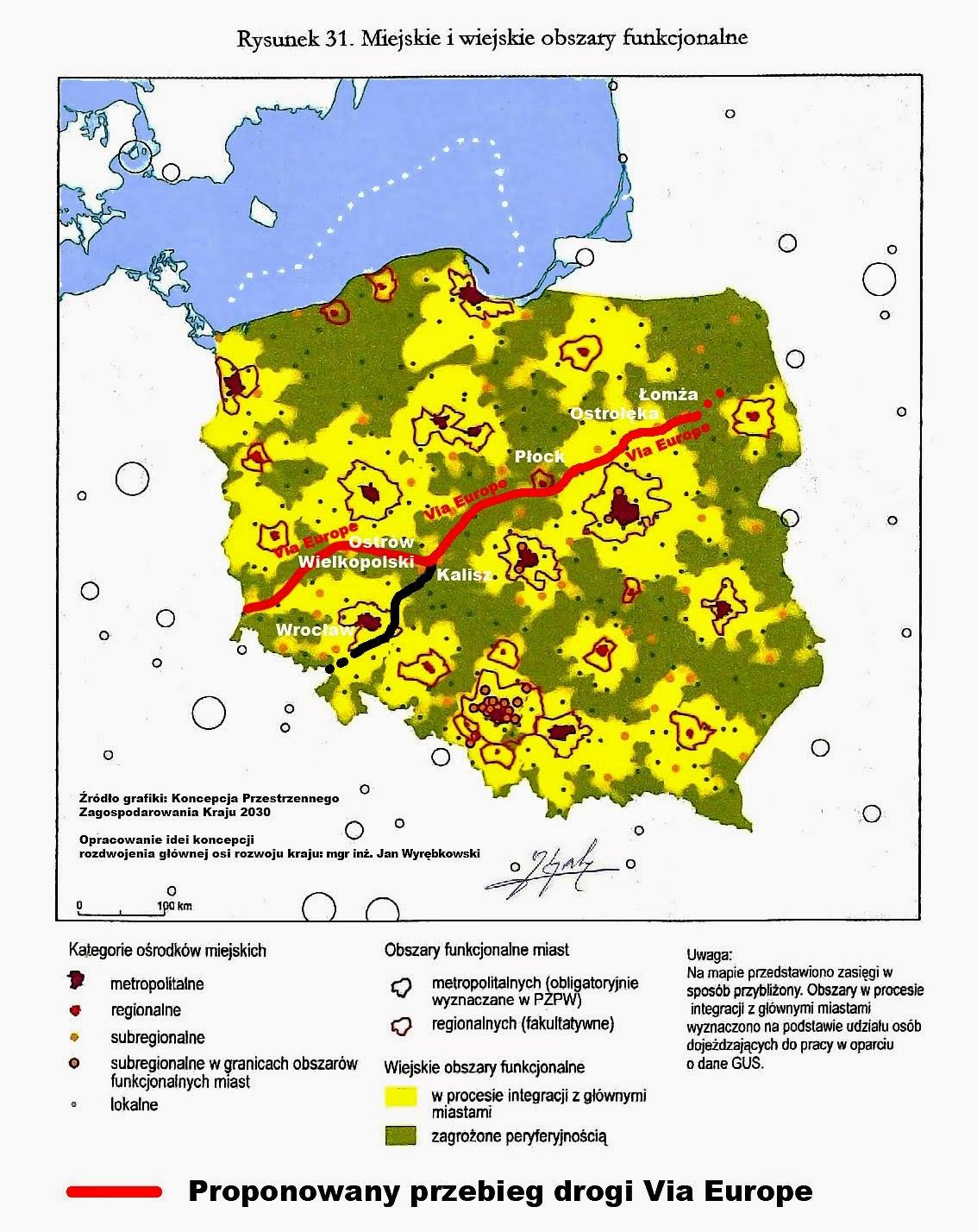 Droga Via Europe na tle obszarów funkcjonalnych, zagrożonych peryferyjnością