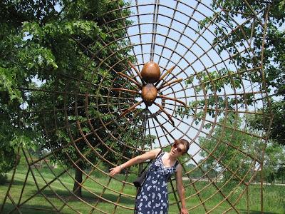 Mom Scared of Giant Spider Sculpture Reiman Gardens
